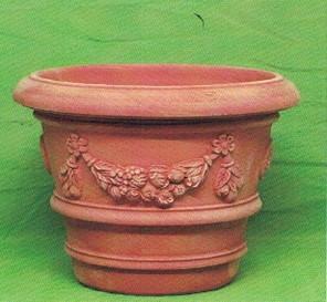 Vaso con bordone festoni for Vasi in cotto toscano